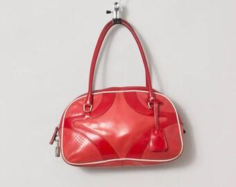 vintage PRADA red leather bowling hand bag