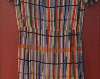 Jack Mulqueen Vintage Ladies Dress bright colorful Silk  size 8
