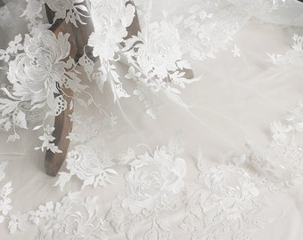 white lace fabric ,wedding lace ,flower embroidery lace