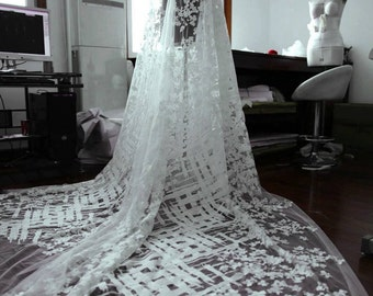 embroidery Lace fabric ,white lace fabric ,wedding lace veil ,flower embroidery lace