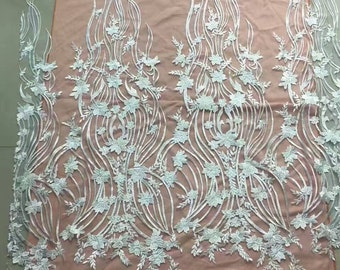 1yard Floral lace fabric,Embroidery lace fabric tulle lace wedding lace fabric alencon lace fabric -9189
