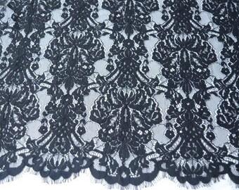 Black lace fabric for dress,bone eyelash lace fabric,cored lace ,rose lace for dress,lovely Aquamarine purple  lace-150cm*150cm
