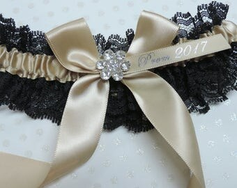 Champagne Prom Garter with Black Lace,   Prom garters