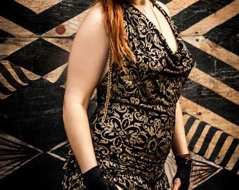 Onesie - Gold/ Black , Halter Neck Onesie, Jump Suit, Burning Man, Hipster, Festival Clothing, Boho Fairy One See, Kelseys Creations