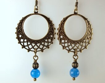 Vintage Style, Filigree Antique Brass with Semi-Precious Stone  called Blue Onyx