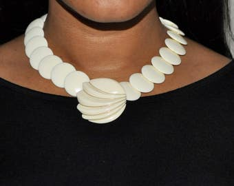 Vintage Trifari Bold Off White with Gold Accents Plastic Statement Bib Necklace