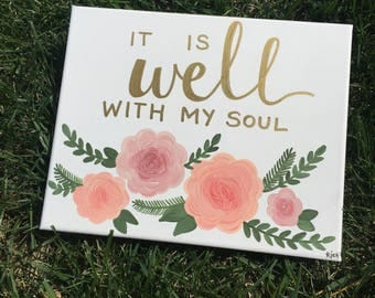 It is Well with my Soul canvas | nursery | home | inspirational decor | wall art