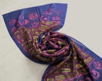 Silk wool multicolored printed scarf, fine wool scarf, floral and geometric design scarf, purple scarf, gift for woman