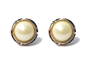 SALE Vintage Upcycled  Round White Pearl Earrings with Gold Trim