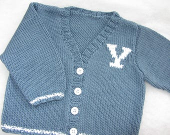 Hand knit cotton baby 'Yale' varsity sweater. Size 6-12 months.