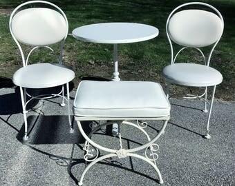 Vintage Gallo Original Iron Works White Wrought Iron Bistro Patio Set ~ Table, 2 Chairs & Bench c. 1960 **FREE SHIP**