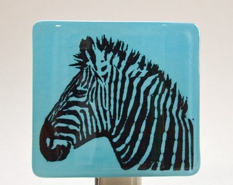 Zebra on Cyan Blue Fused Glass Night Light; Great Gift for Animal Lover or for Your Home