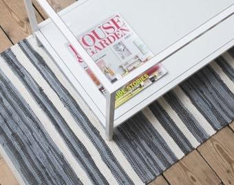 Grey and white stripe Swedish rag rug