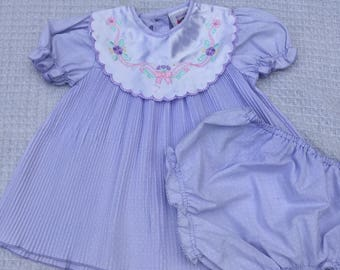 Purple pleated vintage baby dress with matching bloomers. Size 6 months.