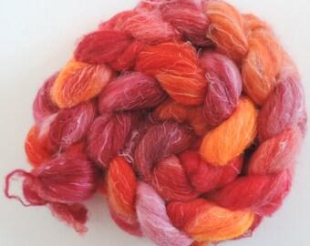 Shetland Leinen Fake Kaschmir,Elvenkiss, handbemalte Fasern zum Spinnen,125g Kammzug