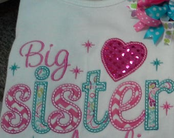 Big Sister shirt, in your choice of colors Little Sister, Baby Sister, personalized with name,embroiderd
