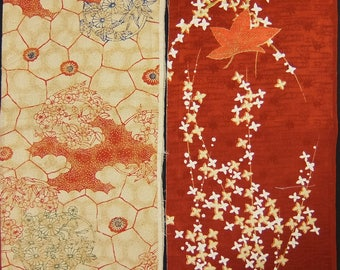 Vintage kimono silk fabric-2 pcs #7454
