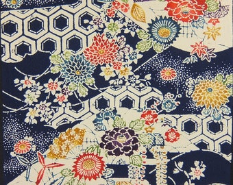 "14.1""w. x 15.8""l. vintage silk, Japanese, silk fabric, kimono fabric, bellflower, silk scraps, water stream, chrysanthemum 2928N"