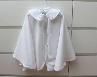 Natural christening cape with Peter Pan collar. White batiste, baptism, baby, boy, girl, full circle cloak, coat, mantle