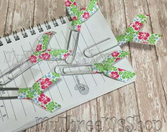 Hibicus Ribbon Bookmarks, Flower Planner Clips, planner accessories, planner lover gift, Hawaiian party favor, summer wedding decor, Flowers