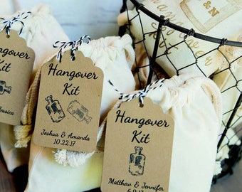 DIY Hangover/Survival Kit Tag & Bag. Personalized for Wedding, Bachelor/Bachelorette Party, Engagement, Birthday, Hen Do. Pick Color