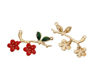 Enamel Connector Gold Plated Green Leaf Carved Red Flower Connectors Charms Pendants