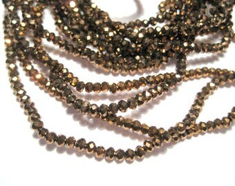 1 Strand Electroplate Dark Gold Faceted Rondelle Glass Beads 2mm
