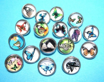 "Mixed 12mm Silver Tone Butterfly Glass Snap Buttons Charms Knob Size: 4.8mm( 2/8"")"