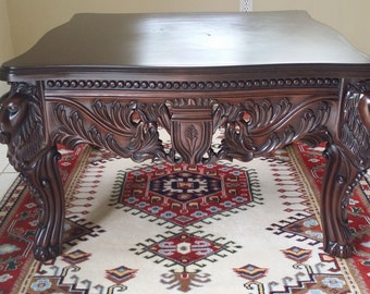 Vintage Coffee Table ,Antique Mahogany Lion Head U0026 Royalıty Carved Table