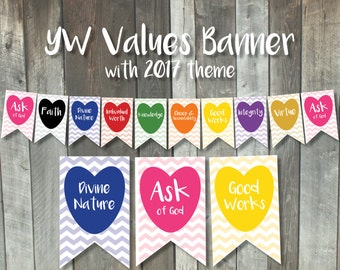Printable Young Women Values Banner | LDS New Beginnings pennant flags | Ask of God 2017 | YW in Excellence bunting decoration | YW Values
