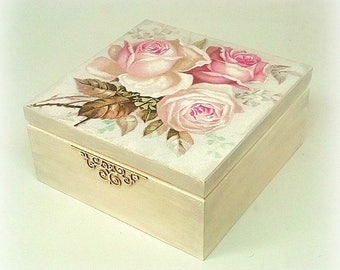 Decoupage tea box , jewellery box , jewelry box , decoupaged box , vintage roses , pink roses , paper napkin ,
