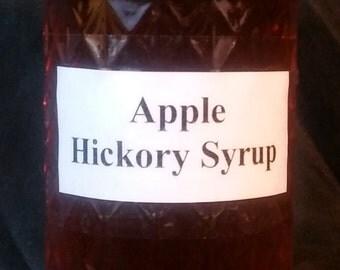 Apple Hickory Syrup 12oz Jar - Shagbark Hickory Bark and Nuts Breakfast Syrup, Coffee Sweetener, Meat Glaze