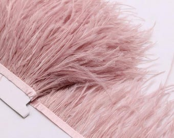 2 Plys Ostrich Feather Trims/Fringes Sewn on Feather 1 Yard  (USA Seller)