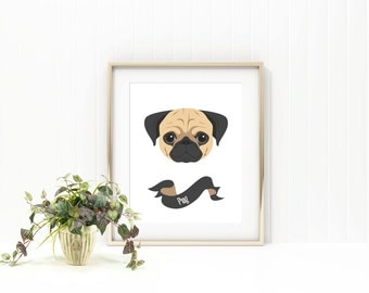 Pug dog print/ dog print/pet print/pet name print/custom pet print/ custom dog print/pet name art/ puppy print