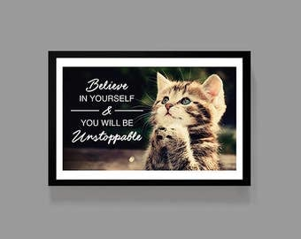 Cat Poster - Inspirational Quote Poster Print - Unstoppable - Cats, Motivational, Cute, Funny, Kids