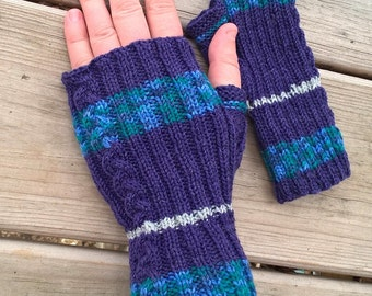Purple Ocean Mitts (side accent braid)