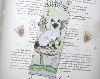mushroom and green winged cat bookmark