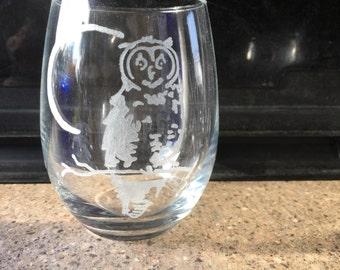 Night Owl stemless wine glass - owl, night owl, night life, nocturnal life, nocturnal, wine glass, stemless, colored glass, glassware
