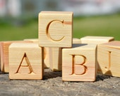26 Wooden English Alphabet Blocks 1.6 inches, ABC Wood Blocks Learning Wood Letter Cubes Personalized Blocks Christmas Baby Shower