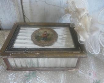 antique silver glass box