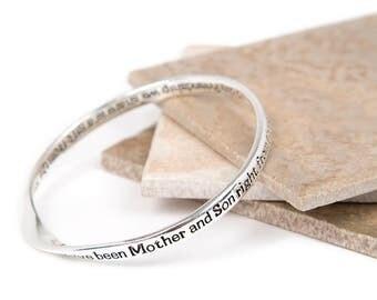Mother & Son Frindship Message Bangle-Mother Son Gift-Slogan Bangle-Silver plated Bangle-Mum Bangle