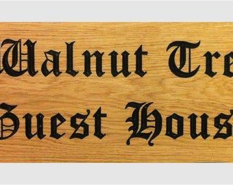 Deep Engraved Solid Oak House Sign