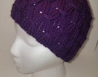 Purple Honeycomb-Cable Beanie