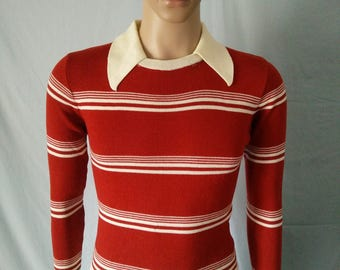 Vintage 70's men's acrylic sweater brown with beige stripes knit collar style by Macy's men's store size medium