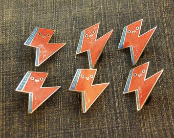 Seconds Sale Kawaii Bowie Bolt Pin Flawed Hard Enamel Pin