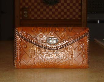 Vintage Brown Hand Tooled Leather Butterfly Checkbook Clutch Wallet