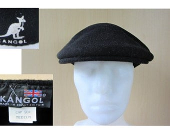 KANGOL Vintage 90s Black Wool Cabbie Hat Newsboy Driver Cap Size Medium Made in Great Britain Upscale Casual
