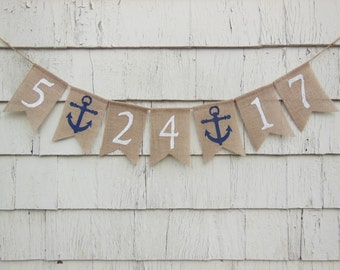 Save the Date Burlap Banner, Nautical Bridal Shower Decor, Engagement Bunting, Engaged, Save The Date Photo Prop, Custom Save The Date Sign