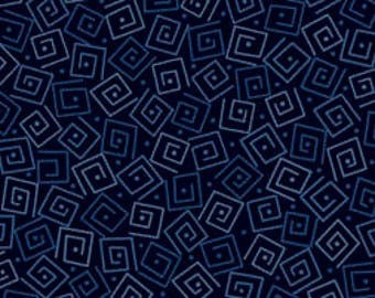 Squares - Navy 24779-N by Quilting Treasures Cotton Fabric Yardage