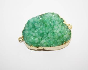 Druzy, Crystal, Gemstone, edged in Gold Tone Drussy Druzzy Drusy Teardrop Pendant , Necklace Charm Crafts, - 36x29mm - 1ct - #674